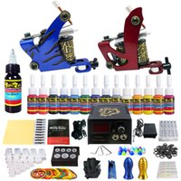 Wholesale Tattoo Kit Gun Ink Needle - US SHIPPING! Solong Tattoo® Complete Tattoo Kit 2 Pro Machine Guns 14 Inks Power Supply Foot Pedal Needles Grips Tips TK210US