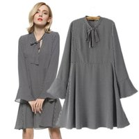 Wholesale Work Clothes Wholesale - Wholesale- Work Office dress Women 5XL plus size Tops Dot Bow Tie Pattern dresses Women Clothing Autumn Knee-Length Flare Sleeve Casual