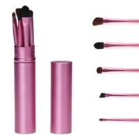 Wholesale Horse Brushes Wholesale - Cosmetic Brushes Make up Eyeshadow Brushes Set 5PCS Set Eye Makeup Brush Tool Cosmetic Kit with Cylinder Pack Free Shipping