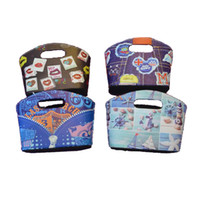 Wholesale Handle Storage Storage Bins for Organization Foldable Fabric Storage Wiht Floral print Box Containers with Two Handle Holes Oval Tapered