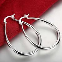 Wholesale Solid 925 Jewelry Earrings - 925-sterling-silver Earrings 925 Jewelry Silver Plated Fashion Stereo Solid U-Shape Earrings Creole Water Hoop Earrings for Women Accessory