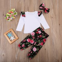 Wholesale Girls Tees Bows - Cute Ins Baby girl Outfits New White Tee Top Ruffles sleeve + Retro Floral Printed bloomers with Bow headband Three-piece set New arrival