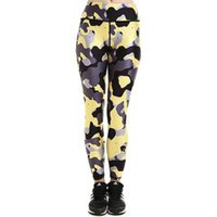 heiße leggings grau großhandel-Gelbe graue Tarnhose Heiße Tarnanzug Frauen Weiche Sportbekleidung Leggings Sportbekleidung Fitnesstraining Sportbekleidung Trainingshose