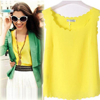 Wholesale Sheer Chiffon Blouse Wholesale - Women Summer Chiffon Sleeveless Blouse Tank Shirt 14 Colors S M L Free Shipping Dropship DK1691LY