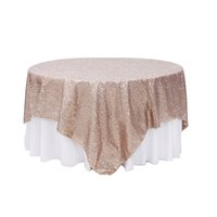 Wholesale Overlay Tablecloths - Free Shipping Hot Selling Square 90*132inch Champagne Sequin TableCloth Wedding Decoration Sequin Table Overlay For Party Banquet Home