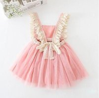 Wholesale Princess Dress Baby Girl Pink - Hot Retail 2017 Baby Girls Tulle Lace Party Dresses Kids Girls Princess tutu Dress Girl Spring Summer Suspender Dress Children's clothing