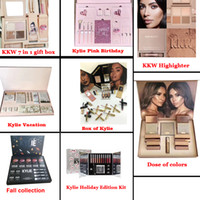 Wholesale Color Gift Boxes - 2017 kylie gift box Bundle Makeup set take me on vacation,Send me more Nude,Shinny Dip,Ultra glow,the wet set,June bug,Gloss DHL