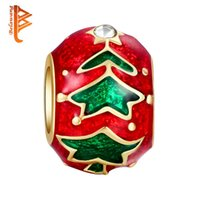 Wholesale Big Tree Beads - BELAWANG Red Christmas Tree Charm Beads 925 Silver Plated Claer CZ Big Hole Beads Fit Charm Bracelets&Bangles Jewelry Gift For Christmas Day