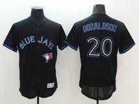 Wholesale Light Blue Baseball Shirt - Toronto Blue Jays #20 Josh Donaldson Majestic Jersey Black Light Out Mens Baseball Jerseys Stitched Baseball Shirts Discount Cheap Jerseys