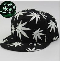 Wholesale Rasta Fitted Hats - Hemp Fitted Baseball Hat Glow In The Dark Cap Flat Luminous Night Glow Men Hat Hip-hop Rasta Herb Leaf Flat Snapback Baseball Cap