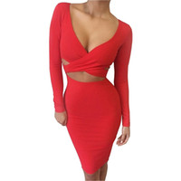 Wholesale Club Sexy Fashion - Sexy Fashion women's Ribbon dress Bohemian dresses long sleeve slim fix Elastic Elegant Party dresses Midi Club Bandage Bodycon LYQ60 RF