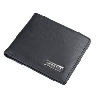Wholesale- 2017 New Fashion Luxury Brand Bifold Business Wallet Hommes PU Leather Black Credit / ID Card Holder Coin Pocket Purse Wallet