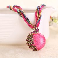 Wholesale Lady Multi Crystal Necklace - Wholesale Cabochon and Crystal Peacock Pendant Necklace Multi Strands Twisted Glass Beads Choker Necklaces 16 Colors For Lady Free Shipping