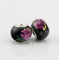Wholesale Peony Charms - Hot ! 100pcs New Rose Red Peony Black Glass Big Hole Beads Fit Charm Bracelets