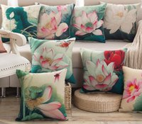 Wholesale Lotus Bedding - Wholesale- Pillow Case Coussin Couvrir High Quality Lotus Green PInk Flower Rose Pillows covers Home Chair Coussin Cover Bed Throw Pillows