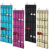Wholesale Hanging Tool Rack - Top selling 20 Pocket Non-woven Fabric Over the Door Shoe Organizer Space Saver Rack Hanging Storage Hanger FREE SHIPPING