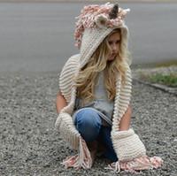 Wholesale crochet scarf tassels for sale - Group buy New Autumn Winter Kids Cartoon Unicorn One piece Scarf Cap Baby Girls Boys Knitted Hats Tassels Beanies Crochet Scarf M140