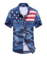 ingrosso jeans disegna tasca-All'ingrosso-camicie per la nuova camicia di jeans del bicchierino-manicotto della camicia degli uomini di disegno di colore di cucitura della doppia tasca della camicia del denim di estate degli uomini Trasporto libero