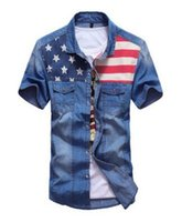 jeans projeta bolso venda por atacado-Atacado-camisas para homens verão nova camisa denim bolso duplo costura cor design homens camisa de manga curta jeans camisa frete grátis