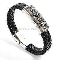 Wholesale multilayer bracelets online - Men jewelry multilayer leather bracelet men bracelet magnetic buckle claps gold bracelets bangles pulseiras