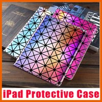 Ipad Mini Apple Diamond Cover Baratos-Caso de protección láser casos de cuero de diamante cubierta plegable folio para el aire mini iPad 1 2 3 4 5 6
