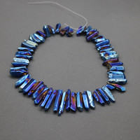 Wholesale Gemstone Briolettes - Titanium Blue Polished Smooth Crystal Quartz Pendants, Raw Healing Gemstone Spikes Top Drilled Briolettes Rock, Women Necklace Beads