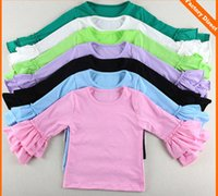 Wholesale Solid Colorful Shirt - Children long sleeve T-shirt Girls cotton soft falbala tees round collar Hot sell spring autumn Kids colorful princess tops 14 colors A8031