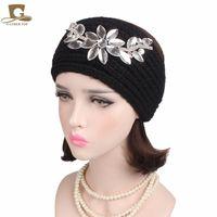 Wholesale Mustaches Glasses - 2017 new winter warm Women Luxury Glass Flower Knit Headband Turban Handmade Hair band Lady ear warmer Girls Hair Accessories