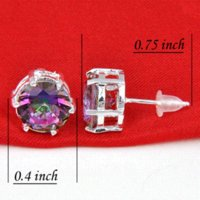 Wholesale Rainbow Silver Crystal Earrings - 65% OFF 2014 New Arrival Fashion Romantic Rainbow Mystic Topaz 925 Silver crystal Earrings E0600 +