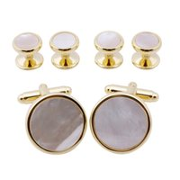 Wholesale Gold Plated Tie Clips - Trendy Round Gold Plated Mother Of Pearl Cuff Links With 4 Studs Set Men's Suit Tuxedos Jewelry Cuff Button