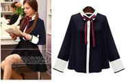 Wholesale white blouse black bow - 2017 Black White Bow Collar Long Sleeves Women's Blouses Vintage Court Print Shirts Women 103001