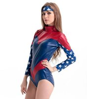 Wholesale Halloween Captain Uniform - Captain America jumpsuits Cosplay Costumes Superman Uniform Long Sleeve Performance Costumes For Halloween How Selling Free Shipping