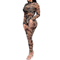 Wholesale Women Plus Size Jumpsuit - 2016 Women Sheer Mesh Sexy Jumpsuit Plus Size Long Sleeve Black Floral Printed Bodysuit Slim Bodycon Jumpsuit Bodysuits