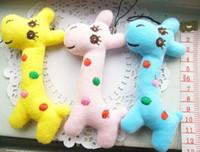 Wholesale Little Giraffe Toys - Mini Little Giraffe 3Colors 3PCS - 8CM Plush Stuffed TOY DOLL Plush TOY , Wedding Bouquet TOY Plush Keychain String TOY DOLL