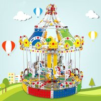 Wholesale 3d Set Models - 3D Assembly Metal Model Kits Toy Carousel Merry Go Round With Music Box Building Puzzles 1423pcs Accessories Construction Play Set OTH618