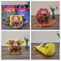Wholesale Folk Cottons - 10 Colors Fashion Children Patchwork Dog Messenger Bag Folk-custom Backpacks Outdoor Travel Bags Dog Shoulder Bags CCA7579 50pcs