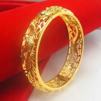 Wholesale 24k Bangle Dragon - Golden dragon bracelet bracelet female gold plated 24K thousand character retro bride wedding jewelry in Hongkong