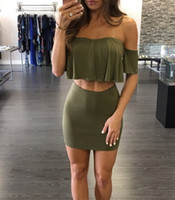 Wholesale Sexy Club Wear Tops - Two Piece Bodycon Dress For Women Mini Off Shoulder Backless Dresses Ruffles Crop Top Sexy Club Wear Dresses