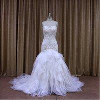 Wholesale Organza Mermaid Strapless Wedding Dress - White Strapless Luxurious Crystal Bodice Ruffle Mermaid Wedding Dress Sale ZM05 Zipper Back Real Fotos Bridal Vestidos De Novias