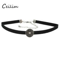 Wholesale Young Women Jewelry - 2017 Design Vintage Round Charms Statement Velvet Choker Necklace for Young Women Lady Gothic Chokers Collar Neck Fashion Jewelry Gift