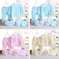 Wholesale girls printed cotton underwear resale online - Baby Clothes Set Newborn Boys Girls Soft Underwear Animal Print Shirt and Pants Cotton clothing