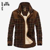 Wholesale British Dress Shirts - AFS JEEP Winter Warm Plaid Casual Shirt Men Flannel Thick Dress Shirts Long Sleeve Fashion Cotton Quality British Fleece Wear