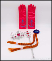 Wholesale Princess Party Stuff - Christamas gift Frozen Anna Elsa Headwear 4pcs set Crown Wig Wand Gloves Party Dress Up Princess Elsa Anna Party Accessory New Arrival