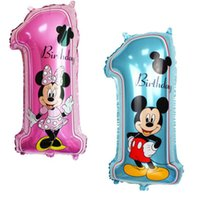 Wholesale Baby Birthday Decor - Mickey Minnie Number 1 Balloon Baby Boy & Girl Birthday Shower Decor 1 Year Birthday Party Layout Digital Aluminium Foil Ballon