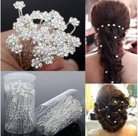 Wholesale Rhinestone Crystal Pin - 40PCS Wedding Accessories Bridal Pearl Hairpins Flower Crystal Rhinestone Hair Pins Clips Bridesmaid Women Hair Jewelry