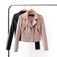 Wholesale Cheaper Women Coats - 2017 New Bomber Leather Jackets Women outerwearwomen coat cheaper sale jaqueta couro biker jacket jaqueta feminina