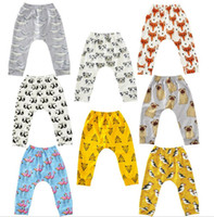 Wholesale Harems Trousers - Baby Flamingos Leggings pants Animal Printed Harem Pants Cartoon PP Pants Fox Penguin Tights Fashion Casual Trousers kid Clothing KKA2373
