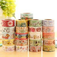 Wholesale Cute Washi Tape - Wholesale-Cute Cartoon Animals Rilakkuma Totoro Fresh Style Washi Tape Adhesive Masking Tape Decorative DIY Stick Label Escolar Papelaria