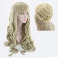 Wholesale Platinum Long Wigs - Z&F New Arraive 70CM Long Platinum Blonde Fashion Wavy Hair Wig Charming Curly Blonde Synthetic Heat Resistant Wigs For Women