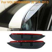 espejos traseros del coche al por mayor-2016 Car Styling Carbono Espejo Retrovisor Hojas de Lluvia Car Back Espejo Ceja Protector de la Cubierta Para VOLKSWAGEN JETTA 2013